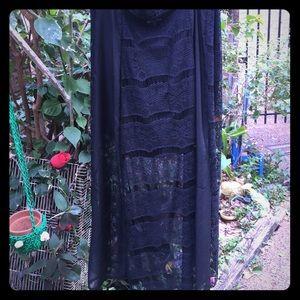 Charlotte Russe Black Lng Shear &Solid Mini Skirt